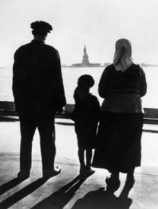 Immigrants at Statue Of Liberty