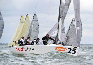 Audi Ultra crew including tactician Enrico Fonda, pitman Federico Buscaglia and bowman Lucia Giorgetti preparing for World Championship in Australia.