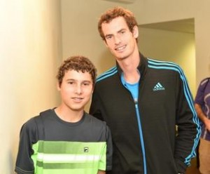 Kyle Fonda, 15, got to hit balls with his idol, Sony Open defending champion Andy Murray.