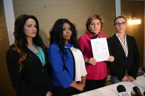Gloria Allred announced a lawsuit against Spirit Airlines beside her clients, from left, Lisa Zampella, Tykisha Diadato and Danielle Fonda-Thomas, who were all involved in a fight on board the carrier's plane.
