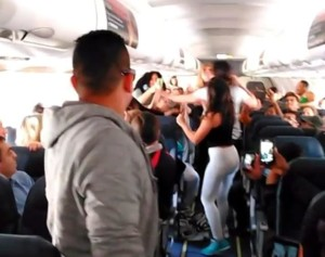The tail-end of the incident was filmed by other passengers, and wild video of women slapping and grabbing each other over seatbacks quickly went viral.